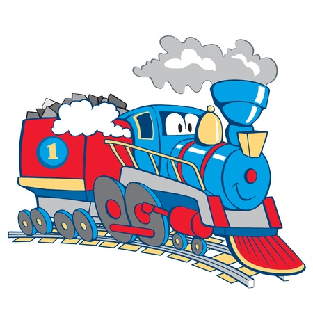 cartoon train isolated on the white background
