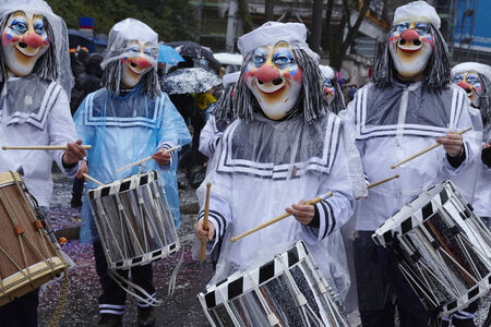 The Carnival at Basel (Basle - Switzerland) in the year 2015. The picture shows some costumed people on February 23, 2015.
