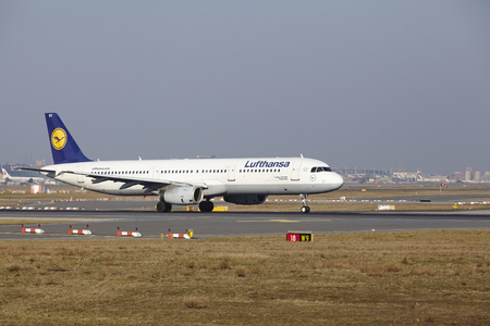 The Lufthansa Airbus A321-131 with identification D-AIRT takes off at Frankfurt International Airport (Germany, FRA) on March 18, 2016.