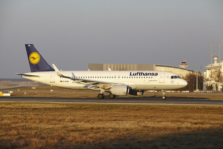 The Lufthansa Airbus A320-214 with identification D-AIUM takes off at Frankfurt International Airport (Germany, FRA) on March 18, 2016.