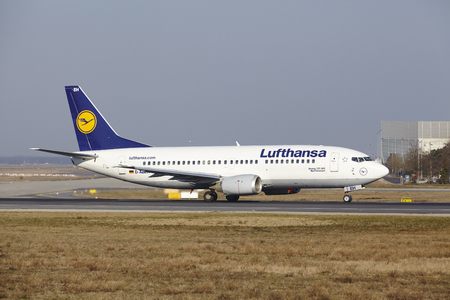 The Lufthansa Boeing 737-330 with identification D-ABEH takes off at Frankfurt International Airport (Germany, FRA) on March 18, 2016.