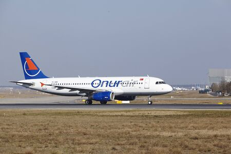 The Onur Air Airbus A320-232 with identification TC.OBO takes off at Frankfurt International Airport (Germany, FRA) on March 18, 2016.