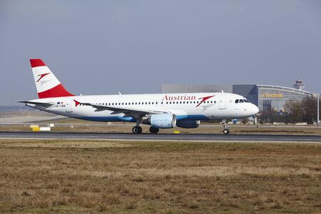 The Austrian Airlines Airbus A320-214 with identification OE-LBM takes off at Frankfurt International Airport (Germany, FRA) on March 18, 2016.