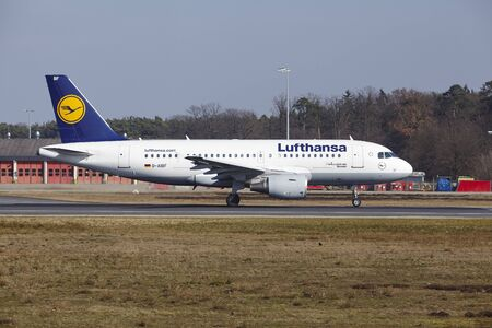 The Lufthansa Airbus A319-112 with identification D-AIBF takes off at Frankfurt International Airport (Germany, FRA) on March 18, 2016.