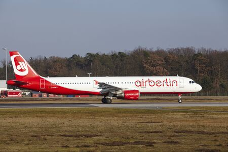 The Air Berlin Airbus A321-211 with identification D-ABCK takes off at Frankfurt International Airport (Germany, FRA) on March 18, 2016.