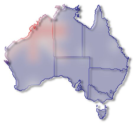 Political map of Australia with the several states.
