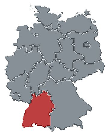 Political map of Germany with the several states where Baden-WÃŒrttemberg is highlighted.