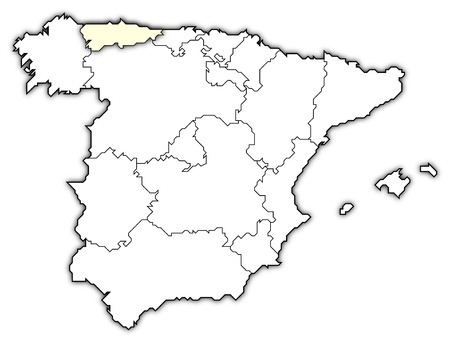 Map Of Spain Political.Political Map Of Spain With The Several Regions Royalty Free