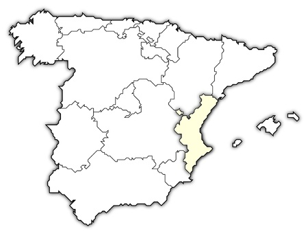 Political map of Spain with the several regions where the Valencian Community is highlighted.