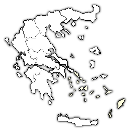 Political map of Greece with the several states where South Aegean is highlighted.