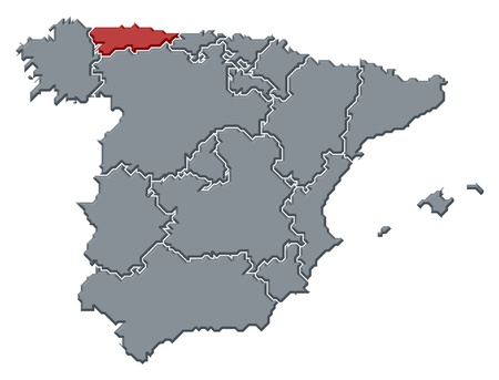 Political map of Spain with the several regions where Asturias is highlighted.