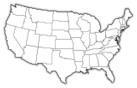 Political map of United States with the several states where Connecticut is highlighted.