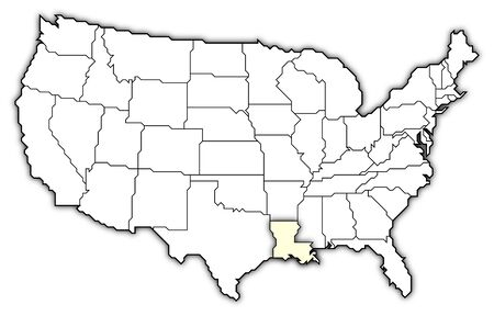 Political map of United States with the several states where Louisiana is highlighted.
