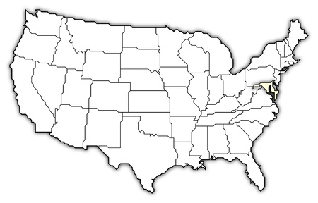 Political map of United States with the several states where Marylansd is highlighted.