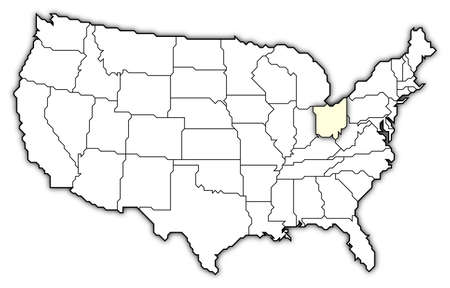 Political map of United States with the several states where Ohio is highlighted.