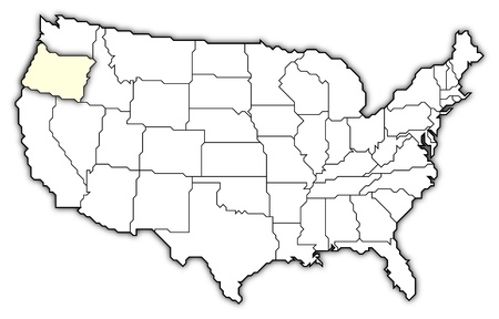 Oregon (USA) outline map with shadow. Detailed, Mercator projection on