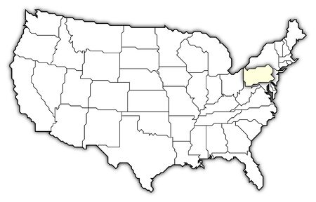 Political map of United States with the several states where Pennsylvania is highlighted.