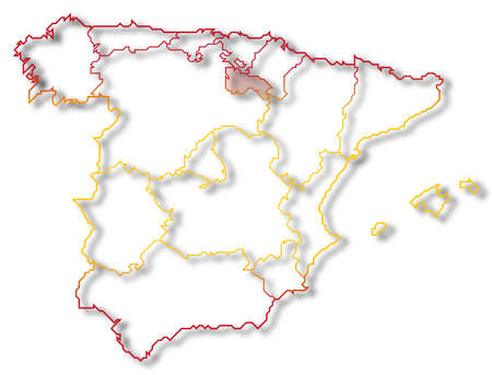 Political map of Spain with the several regions where La Rioja is highlighted.