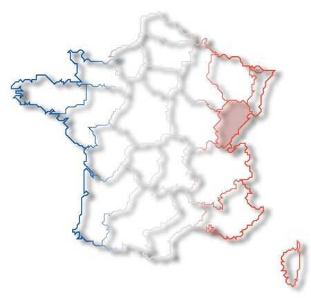 Political map of France with the several regions where Franche-Comte is highlighted.