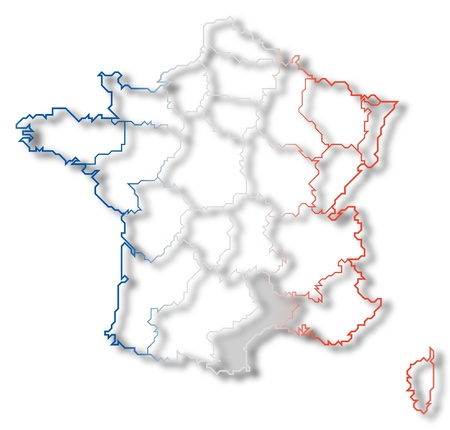 Political map of France with the several regions where Languedoc-Roussillon is highlighted.
