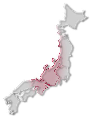 Political map of Japan with the several regions.