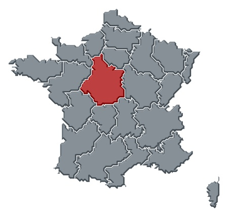 Political map of France with the several regions where Centre is highlighted.