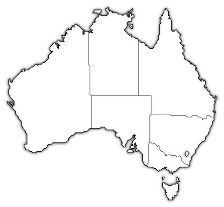 Political map of Australia with the several states where ...