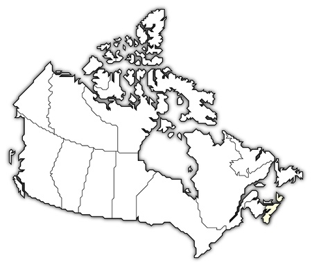 Political map of Canada with the several provinces where Nova Scotia is highlighted.