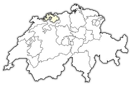 Political map of Swizerland with the several cantons where Basel-Landschaft is highlighted.