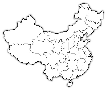 Political map of China with the several provinces where Macau is highlighted.