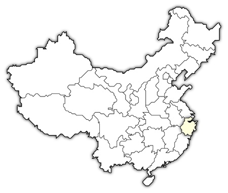 Political map of China with the several provinces where Zhejiang is highlighted.