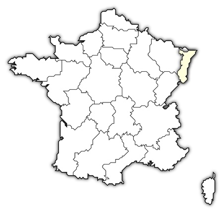 Political map of France with the several regions where Alsace is highlighted.