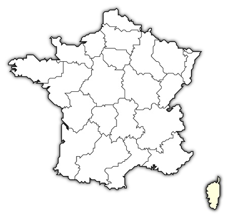 Political map of France with the several regions where Corsica is highlighted.