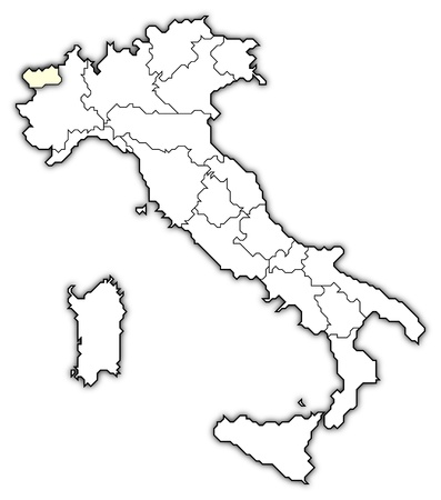 Political map of Italy with the several regions where Aosta Valley is highlighted.