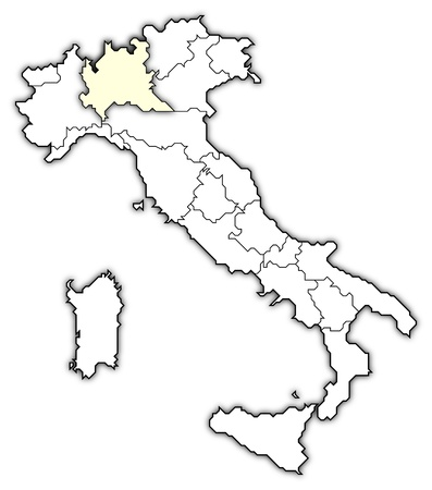 Political map of Italy with the several regions where Lombardy is highlighted.