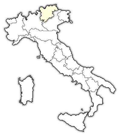 Political map of Italy with the several regions where Trentino-Alto Adige/SÃŒdtirol is highlighted.