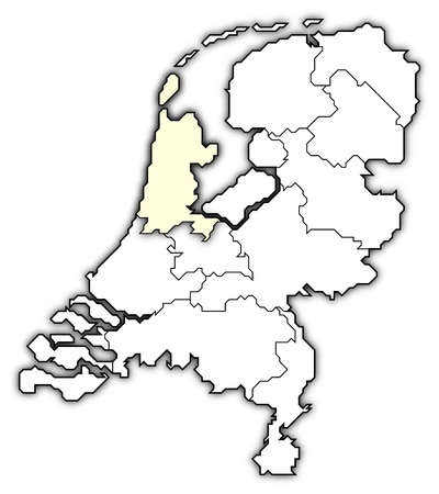 Political map of Netherlands with the several states where North Holland is highlighted.