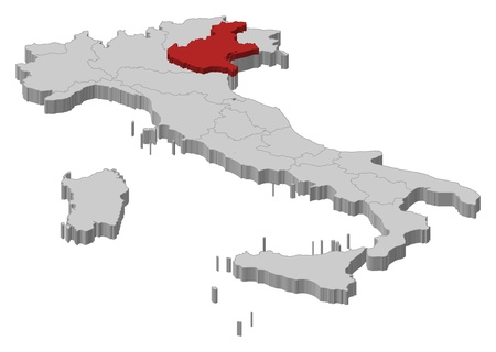 Political map of Italy with the several regions where Veneto is highlighted.