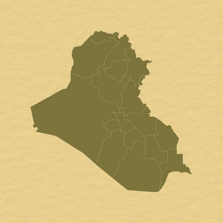 Political map of Iraq with the several governorates.