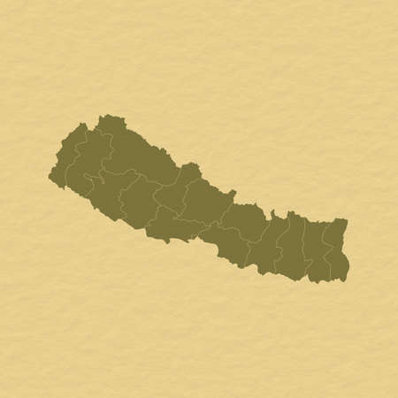 Political map of Nepal with the several zones.