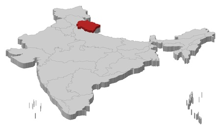 Political map of India with the several states where ...