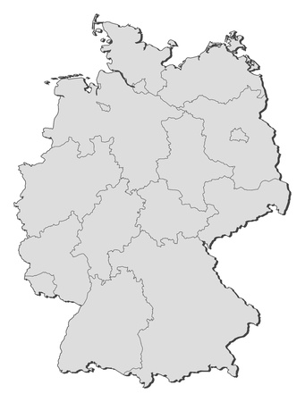 Political map of Germany with the several states ...