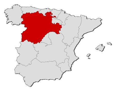 Political map of Spain with the several regions where Castile and León is highlighted.