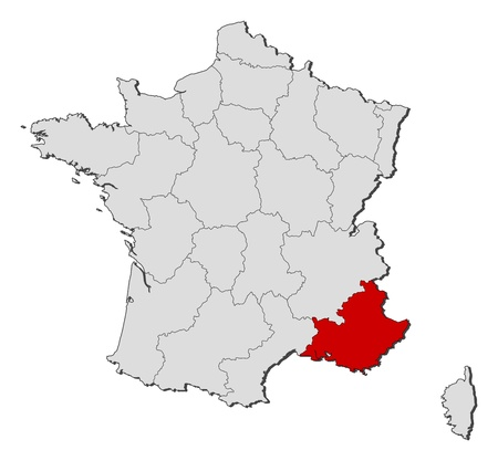 Political map of France with the several regions where Provence-Alpes-Côte d'Azur is highlighted.