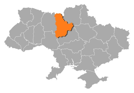 Political map of Ukraine with the several oblasts where Kiev is highlighted.