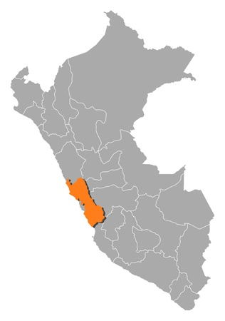 Political map of Peru with the several regions where Lima is highlighted.