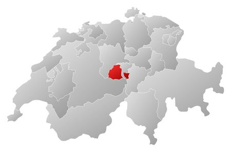Political map of Swizerland with the several cantons where Obwalden is highlighted.