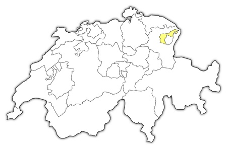 Political map of Swizerland with the several cantons where Appenzell Ausserrhoden is highlighted.