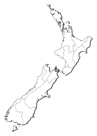 Political map of New Zealand with the several regions.