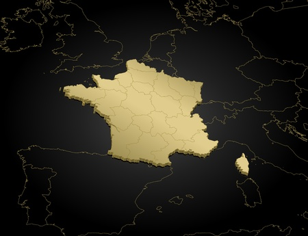 Political map of France with the several regions.
